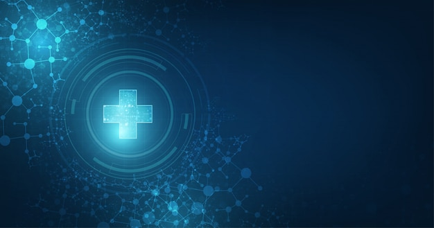 Conectividade global médica abstrata adequada para tópicos de saúde e medicina em fundo de cor azul escuro Vetor Premium