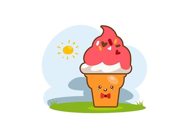 cones de sorvete de desenho animado sobre um fundo branco baixar