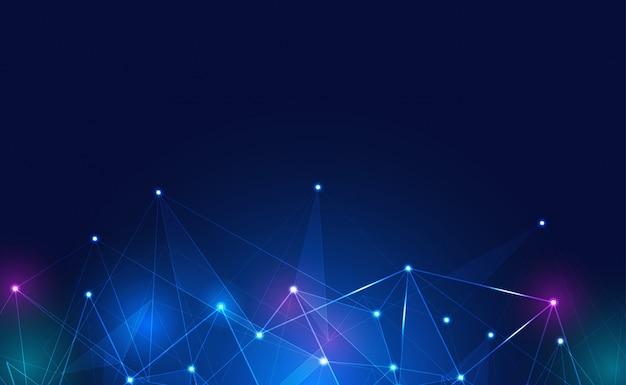 Conexão à internet, com efeito neon, fundo de tecnologia. conceito de tecnologia de ciência digital. Vetor Premium