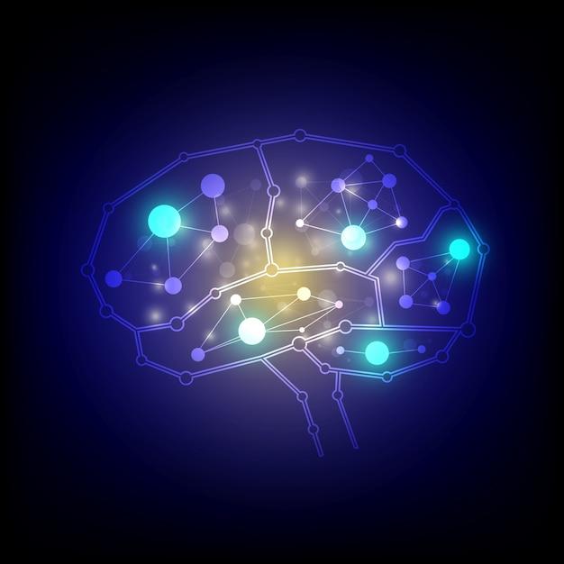 Conexão cerebral conexões Vetor Premium