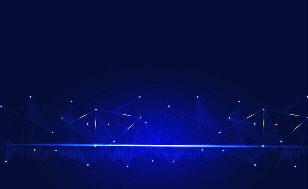 Conexão com a internet ou fundo de conexão de rede. com baixo poli, ponto, círculo, linha, luz. pano de fundo da tecnologia digital Vetor Premium