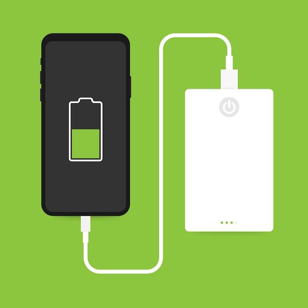 Conexão de cabo usb isométrica plana smartphone com banco de potência externo Vetor Premium