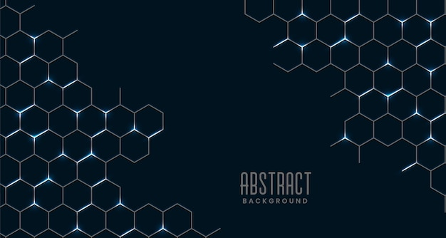 Conexão de malha hexagonal abstrata preta Vetor grátis