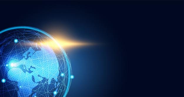 Conexão de mapa do mundo de fundo abstrato rede global Vetor Premium