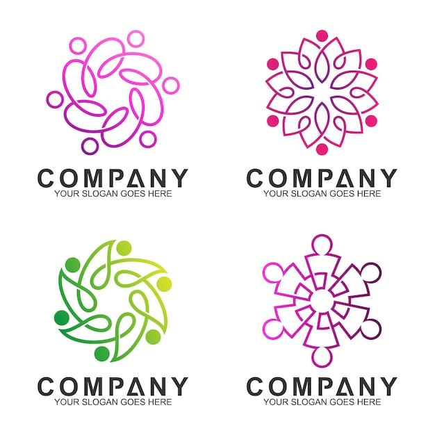 Conexão de pessoas elegantes simples / design de logotipo de comunidade com estilo de arte de linha Vetor Premium