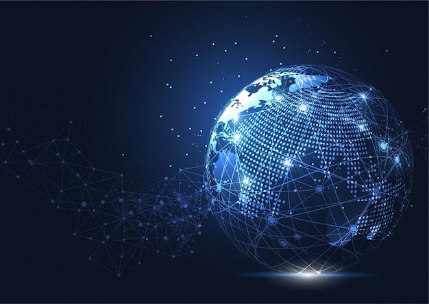 Conexão de rede global de negócios. ponto do mapa do mundo Vetor Premium