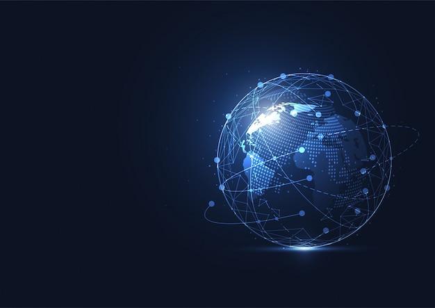Conexão de rede global. ponto de mapa do mundo e conceito de composição de linha Vetor Premium