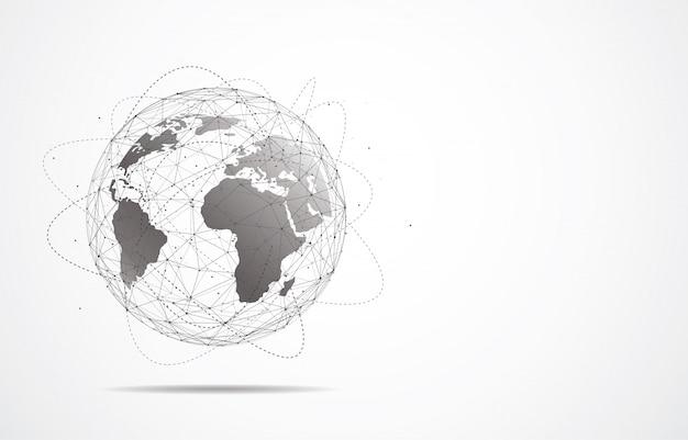 Conexão de rede global. ponto de mapa do mundo e linha Vetor Premium