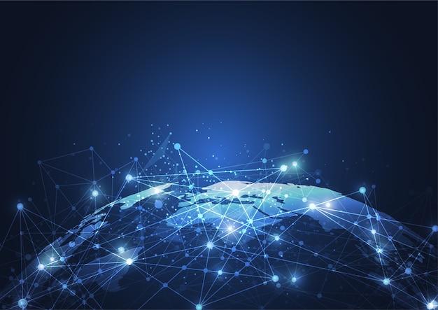 Conexão de rede global. ponto do mapa do mundo Vetor Premium
