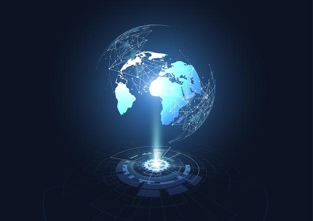 Conexão de rede global tecnológica de hologramas Vetor Premium