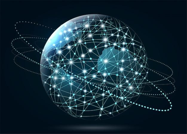 Conexão de rede global. world wide web, conexão de linhas a | Vetor Premium