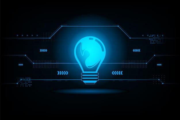 Conexão futurista de lâmpada abstrata Vetor Premium