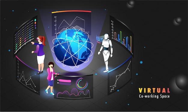 Conexão remota de trabalho colaborativo global. Vetor Premium