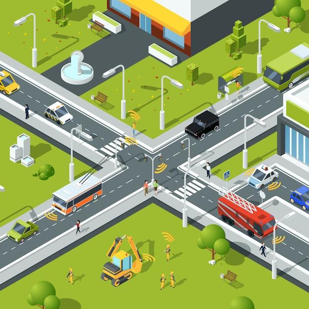 Conexão sem fio dentro do tráfego urbano. Vetor Premium