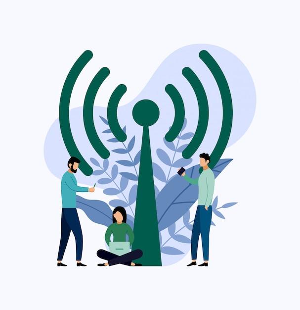 Conexão sem fio pública da zona do ponto quente do wifi livre. Vetor Premium