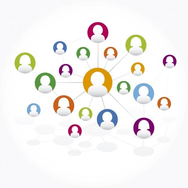 Conexões de rede sociais Vetor grátis