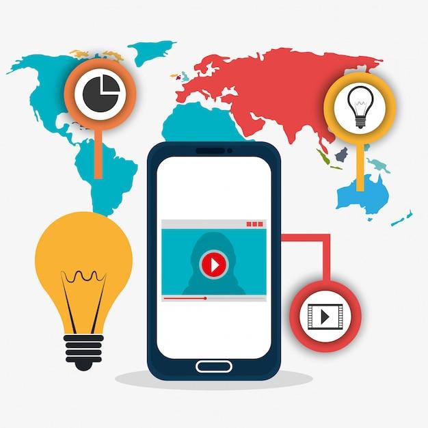 Conexões do mundo e infográfico de negócios Vetor grátis