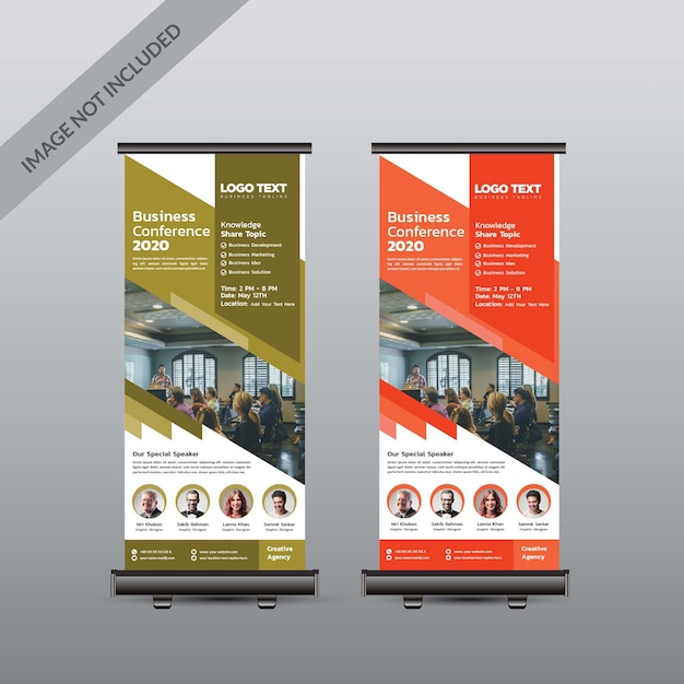 Conferência abstrata arregaçar banner Vetor Premium