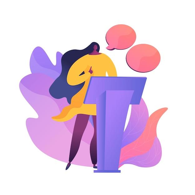 Conferência de negócios, apresentação corporativa. personagem plana falante feminino com balões de fala vazios. debates políticos, professor, seminário. Vetor grátis