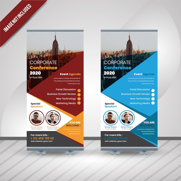 Conferencia de negócios roll up banner design Vetor Premium