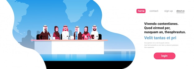 Conferência de pessoas de negócios árabes do grupo reunião banner de apresentação Vetor Premium