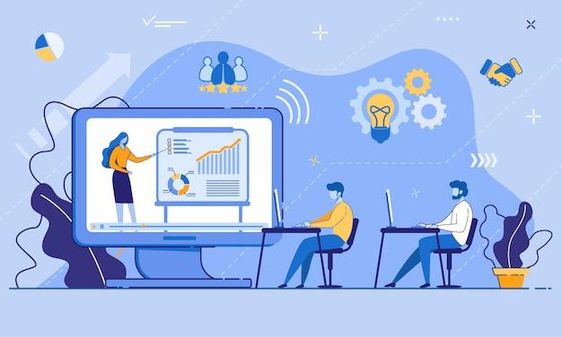 Conferência de treinamento on-line para funcionários de escritório Vetor Premium