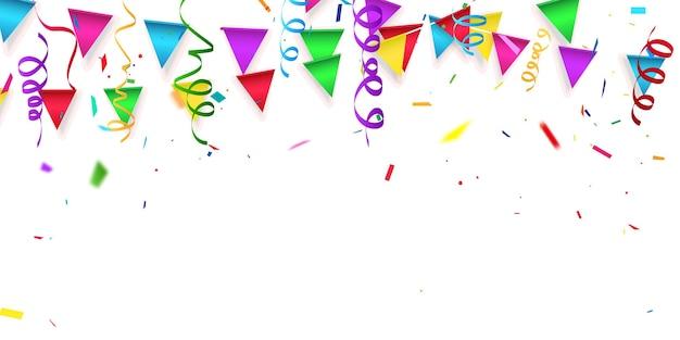 Confete colorido e bandeira de guirlanda Vetor Premium