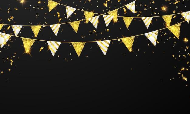 Confete dourado e bandeira guirlanda Vetor Premium