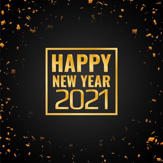 Confete dourado feliz ano novo 2021 Vetor grátis