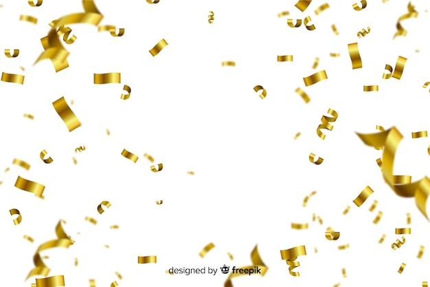 Confete dourado sobre fundo branco Vetor Premium