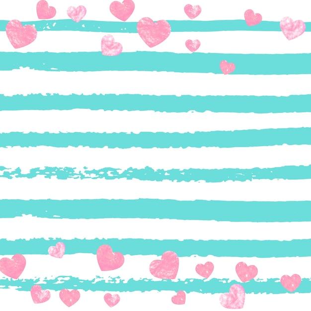 Confete glitter rosa com corações em listras turquesa Vetor Premium