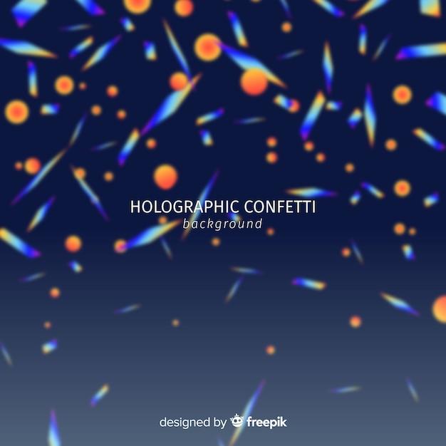 Confete holográfico realista caindo fundo Vetor grátis