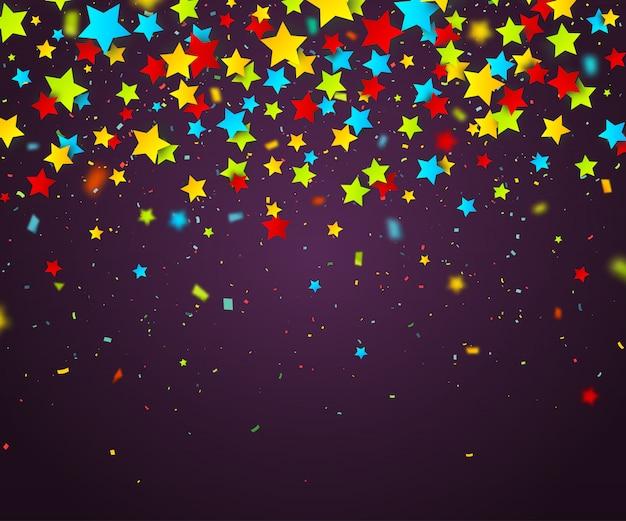 Confetes coloridos de estrelas. fundo de férias Vetor Premium