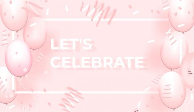 Confetes com balões rosa e moldura em fundo rosa Vetor Premium