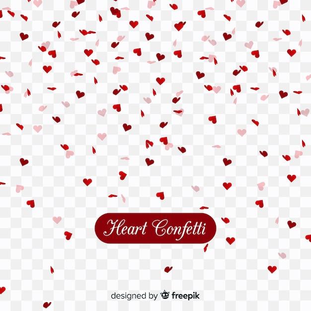 Confetes de coração em plano de fundo transparente Vetor grátis
