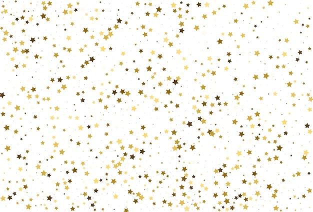 Confetes de estrelas douradas. decoração de festa natalícia. Vetor Premium