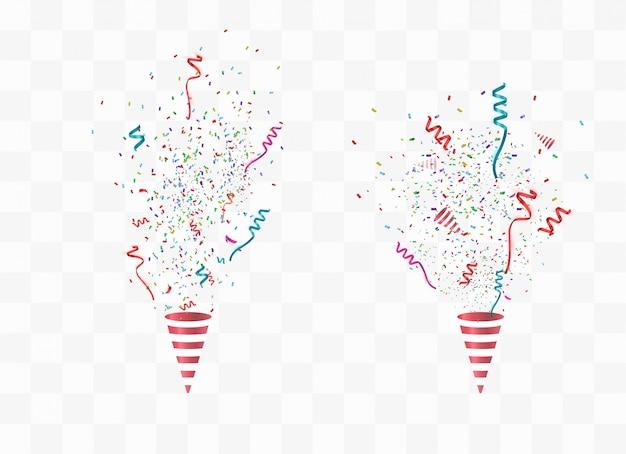Confetes e poppers de festa Vetor Premium