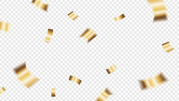 Confetti glitter dourado caindo em fundo transparente Vetor Premium