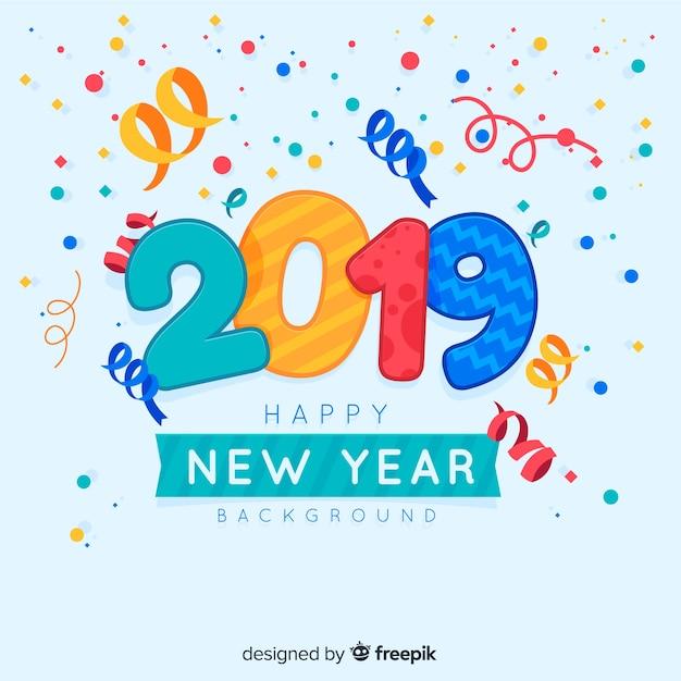 Confetti novo ano 2019 fundo Vetor grátis