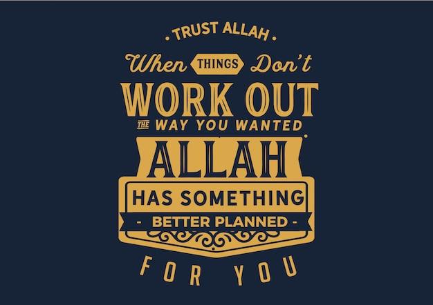 Confie na citação de allah Vetor Premium