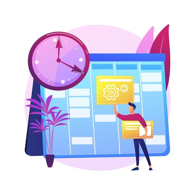 Configure a ilustração do conceito abstrato de programação diária. colocar rotina diária em quarentena, programar seu dia de permanência em casa, auto-organização, configurar calendário de estudos. Vetor grátis