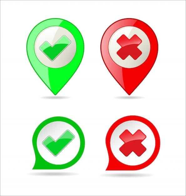 Confirmar e negar a marca de seleção e botão x ícone Vetor Premium