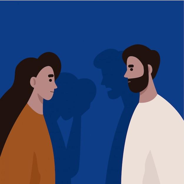 Conflito entre marido e mulher. violência doméstica e abuso. manipulação. divórcio. ilustração plana. Vetor Premium