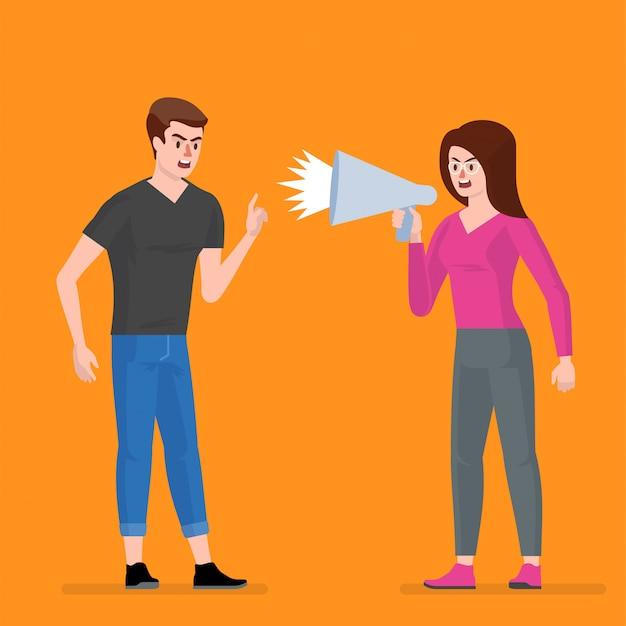 Conflito. um homem e uma mulher brigam. Vetor Premium