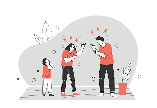 Conflitos domésticos e desacordos sobre auto-isolamento, quarentena. família com raiva. descobrir a relação entre homem e mulher, violência doméstica. ilustração vetorial no estilo cartoon plana. Vetor Premium