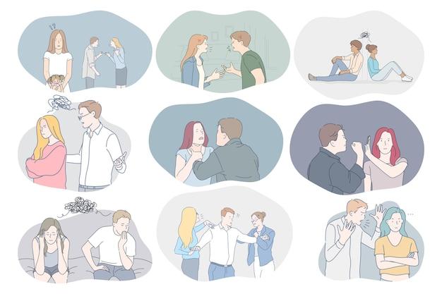 Conflitos no casal, mal-entendidos, problemas no conceito de comunicação Vetor Premium