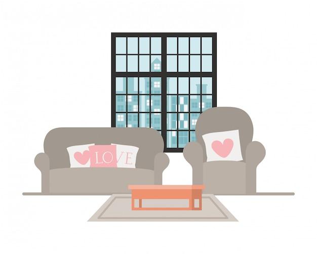 Confortável sofá e cadeira em casa Vetor Premium