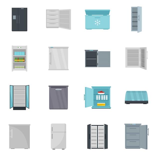 Congelador geladeira congelada gelo conjunto de ícones Vetor Premium