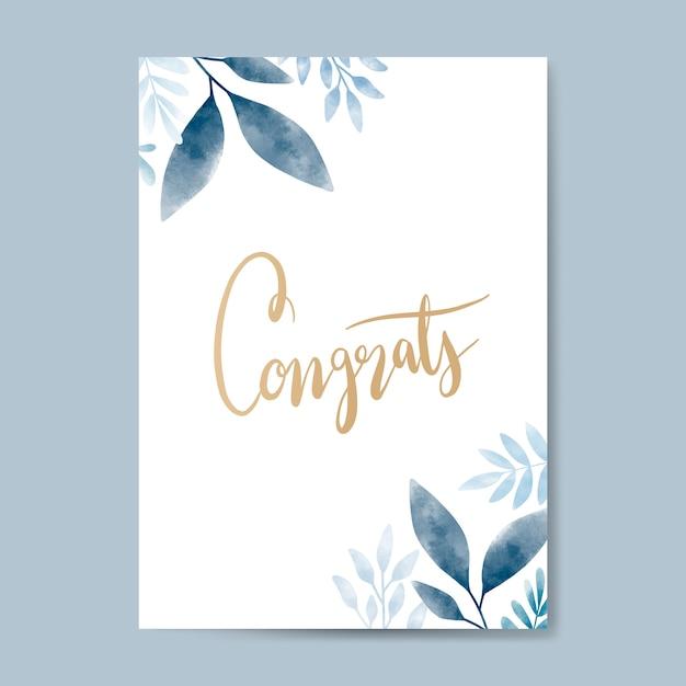 Congrats aquarela cartão design vector Vetor grátis