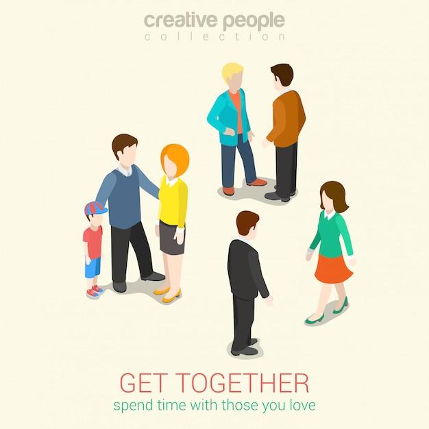 Conheça pessoas que você ama e passa o tempo livre, lazer, família e amigos Vetor grátis